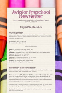 Aviator Preschool Newsletter