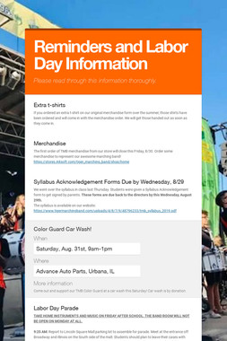 Reminders and Labor Day Information