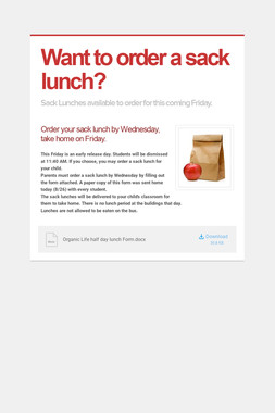 Want to order a sack lunch?