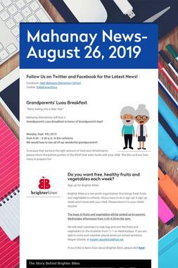 Mahanay News- August 26, 2019