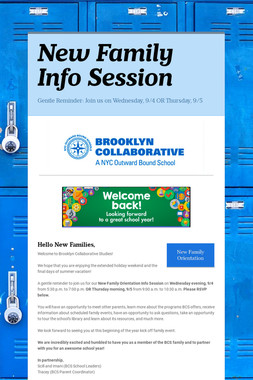New Family Info Session