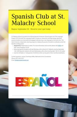 Spanish Club at St. Malachy School