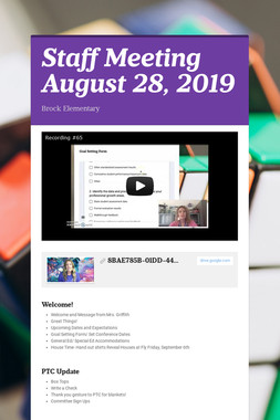 Staff Meeting August 28, 2019