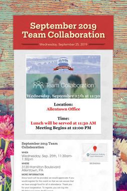 September 2019 Team Collaboration