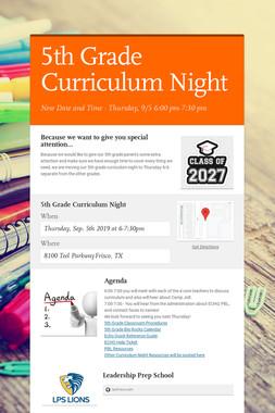 5th Grade Curriculum Night