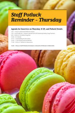 Staff Potluck Reminder - Thursday