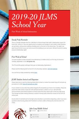2019-20 JLMS School Year