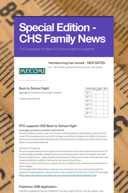 Special Edition - CHS Family News