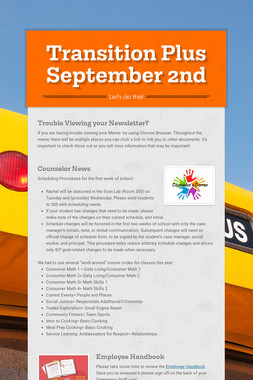 Transition Plus   September 2nd