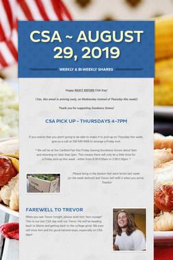 CSA ~ August 29, 2019