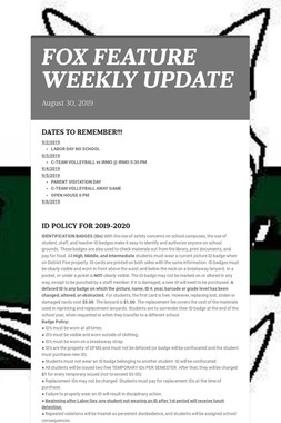 FOX FEATURE WEEKLY UPDATE