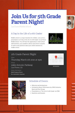 Join Us for 5th Grade Parent Night!