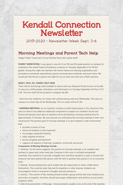 Kendall Connection Newsletter