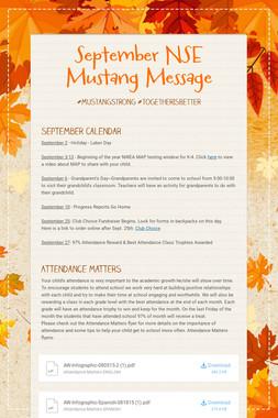 September NSE Mustang Message