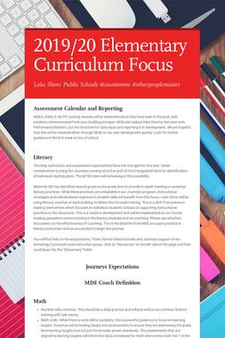 2019/20 Elementary Curriculum Focus