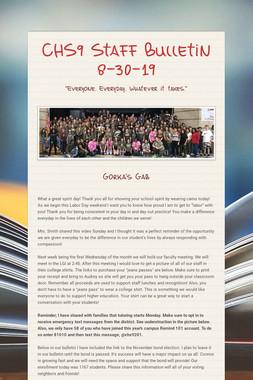 CHS9 Staff Bulletin 8-30-19