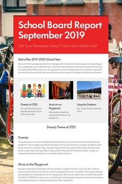 School Board Report September 2019