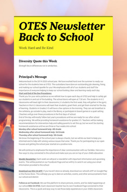 OTES Newsletter Back to School