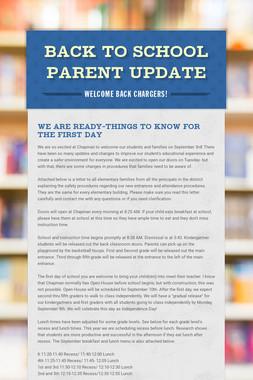 Back to School Parent Update