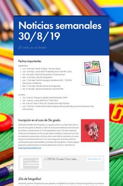 Noticias semanales 30/8/19