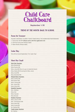 Child Care Chalkboard