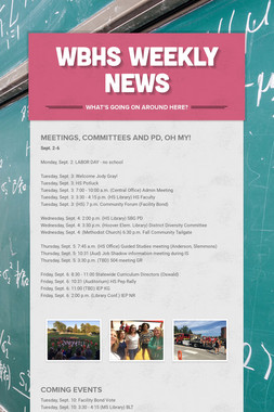 WBHS WEEKLY NEWS