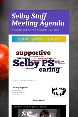 Selby Staff Meeting Agenda