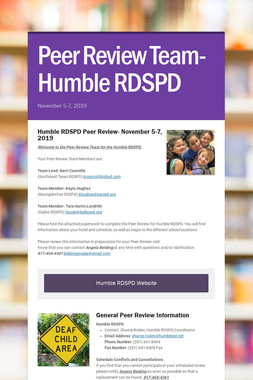 Peer Review Team- Humble RDSPD