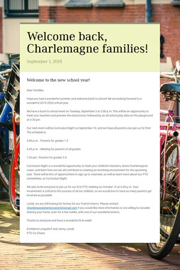 Welcome back, Charlemagne families!