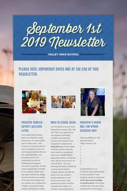 September 1st 2019 Newsletter