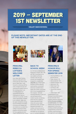 2019 ~ September 1st Newsletter