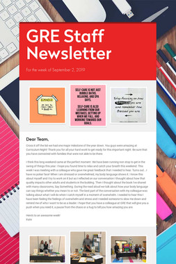 GRE Staff Newsletter