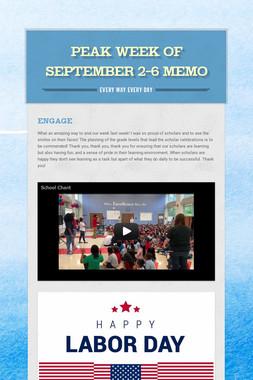 Peak Week of September 2-6 Memo
