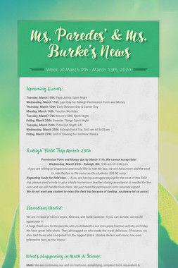 Ms. Paredes' & Ms. Burke's News