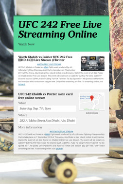 UFC 242 Free Live Streaming Online
