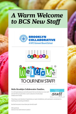 A Warm Welcome to BCS New Staff