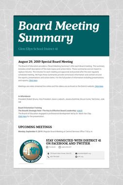 Board Meeting Summary