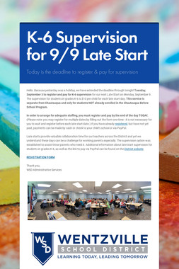 K-6 Supervision for 9/9 Late Start