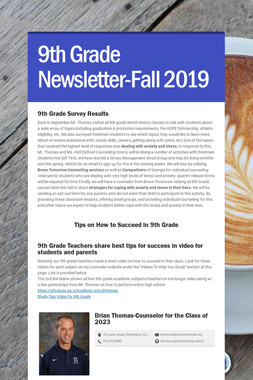 9th Grade Newsletter-Fall 2019