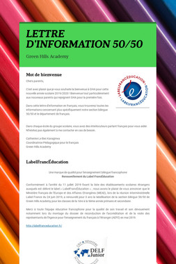 LETTRE D'INFORMATION 50/50