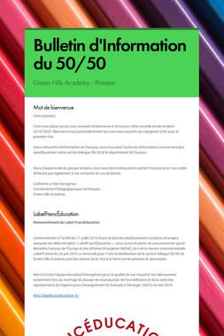 Bulletin d'Information du 50/50