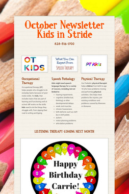 October Newsletter Kids in Stride
