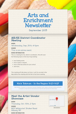 Arts and Enrichment Newsletter