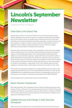 Lincoln's September Newsletter