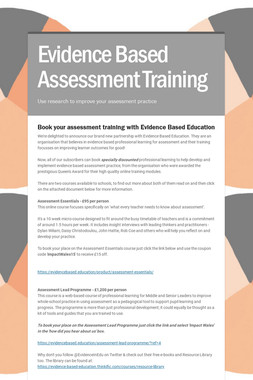 Evidence Based Assessment Training