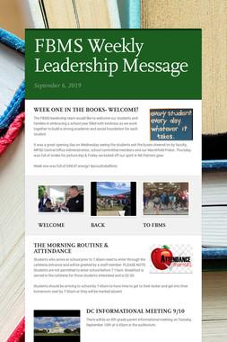FBMS Weekly Leadership Message