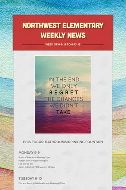Northwest Elementary Weekly News