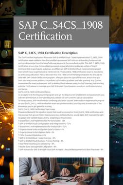 SAP C_S4CS_1908 Certification