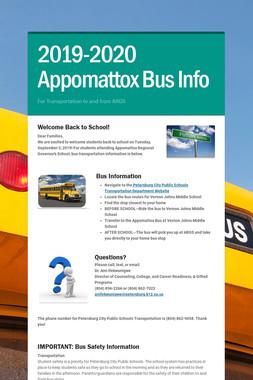 2019-2020 Appomattox Bus Info