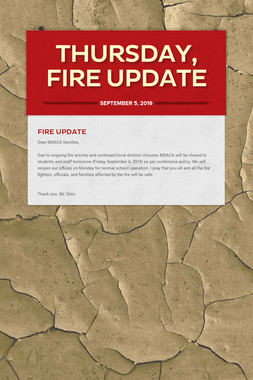 Thursday, Fire Update